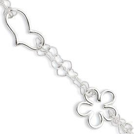 Genuine IceCarats Designer Jewelry Gift Sterling Silver Polished Heart, Star & Flower Double Strand Bracelet In 7.25 Inch IceCarats. $33.00. Sterling Silver. 30 day money back guarantee. Polished Fancy lobster. Weight 5.59 grams. Genuine IceCarats Designer Jewelry Gift. Save 60% Off!