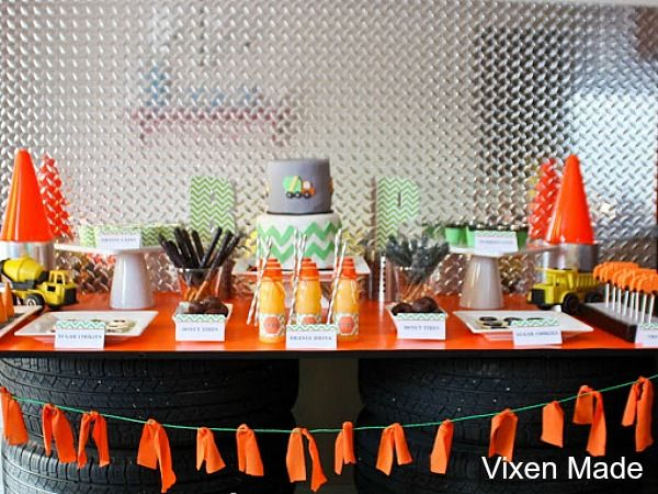 Construction Party Ideas. Links to many construction-themed parties at this site.