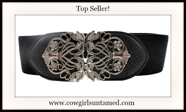 TOP SELLING VINTAGE COWGIRL BELT! Antique Silver Filigree Buckle on Black Stretchy Wide Belt  #belt #antiquesilver #vintage #filigree #stretchy #wide #leather #cowgirl #western #boutique #beautiful #fashion