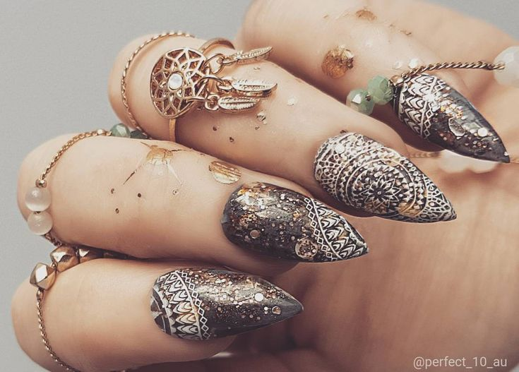 46 best perfect 10 custom nails luxe press on nails nail art boho glitter mandala press on nails prinsesfo Image collections