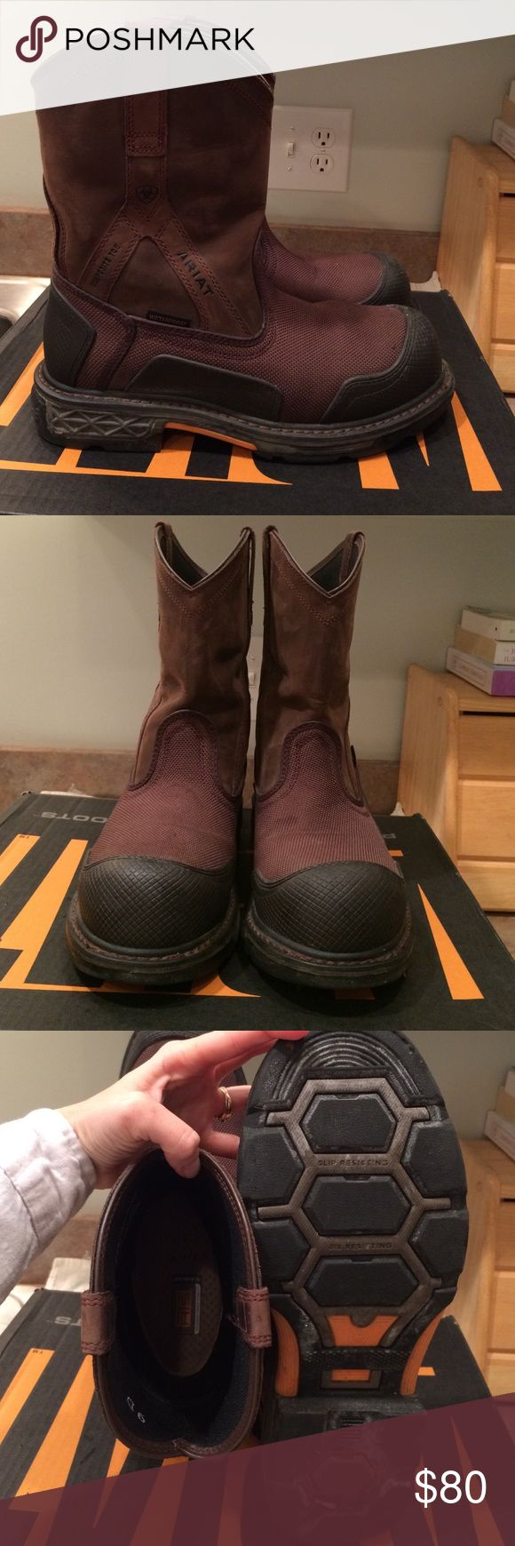 Ariat work boots size 9 Ariat work boots size 9. Only wore twice. They were to little and couldn't take back after you walk outside in them. In good gently used condition. Waterproof, composite toe, slip resistant. Brown and black in color. Ariat Shoes Boots