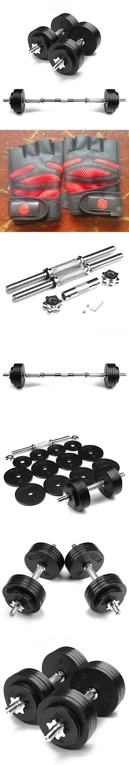 FlexiMuscle Adjustable Dumbbells Set with Dumbbells-to-Barbell Connector and Weightlifting Gloves - 105LB
