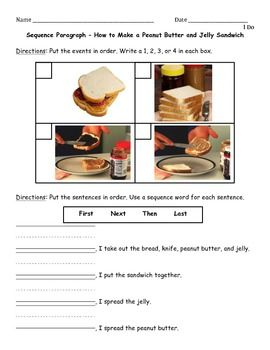 peanut butter and jelly sequence paragraph 1st grade pinterest. Black Bedroom Furniture Sets. Home Design Ideas