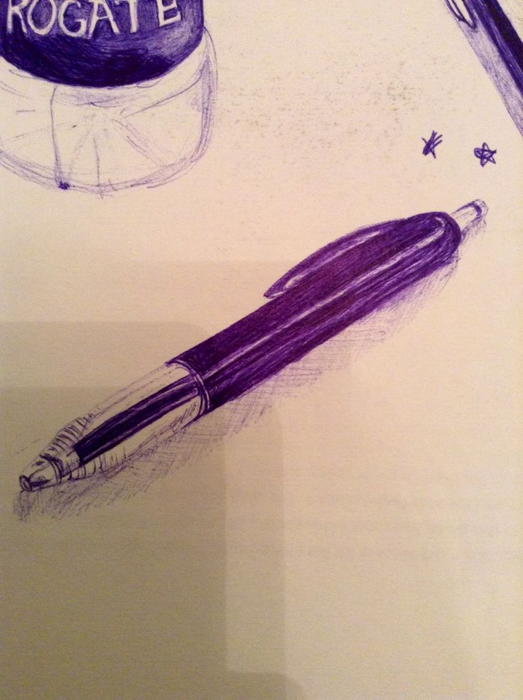 Observational drawing of a pen.