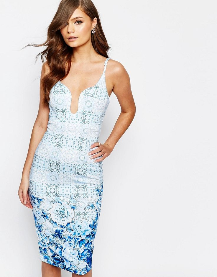 Ginger+Fizz+Plunge+Pencil+Dress+In+Border+Print