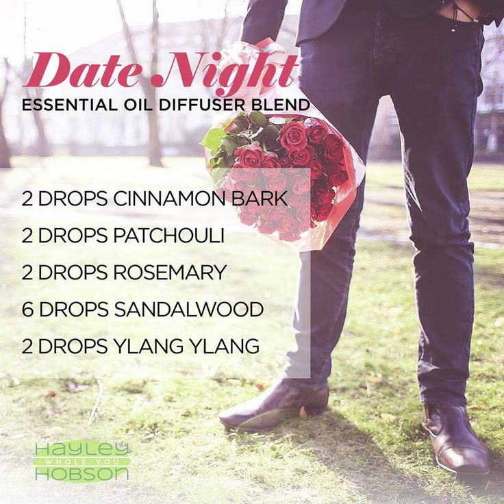Date Night essential oil diffuser blend is a fun blend of Cinnamon Bark, Patchouli, Rosemary, Sandalwood, and Ylang Ylang essential oils. Cinnamon Bark provides a warm and spicy aroma to help set the atmosphere, Sandalwood enhances the mood, while the addition of Patchouli promotes a grounding and balancing effect on emotions. Rosemary to help reduce fatigue and nervous tension! Ylang Ylang! adds in a rich, sweet, floral aroma that is also a great mood lifter!  www.hayleyhobson.com