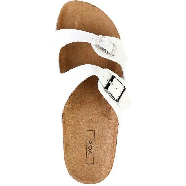 DOUBLE BUCKLE SLIDE SANDAL ❤ liked on Polyvore featuring shoes, sandals, double buckle sandals, black sandals, rose gold stilettos, black stilettos and slide sandals