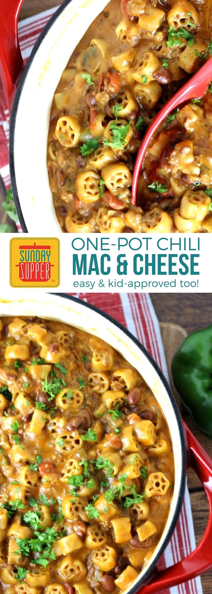 Back to school just got easier thanks to our One Pot Chili Mac and Cheese. A favorite Sunday Supper recipe that is also one of our top hot lunch ideas! One Pot Chili Mac and Cheese recipe is full of bold chili flavors, beef, pasta and lots of gooey cheese. But, most importantly, it's a dinner recipe ready in no time with minimal clean up