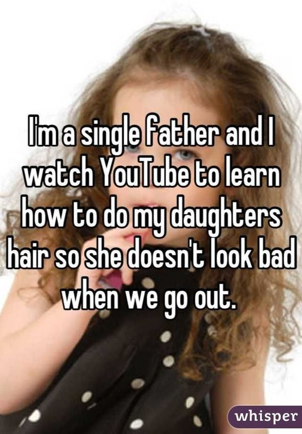 Single father looks up YouTube videos in order to do his daughter's hair like everyone else. Probably comparing his job with someone else. (Symbolic Interactionist)