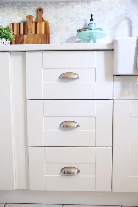 Kitchen Drawer Cup Pulls our diy white kitchen renovation | kitchen drawers, quartz