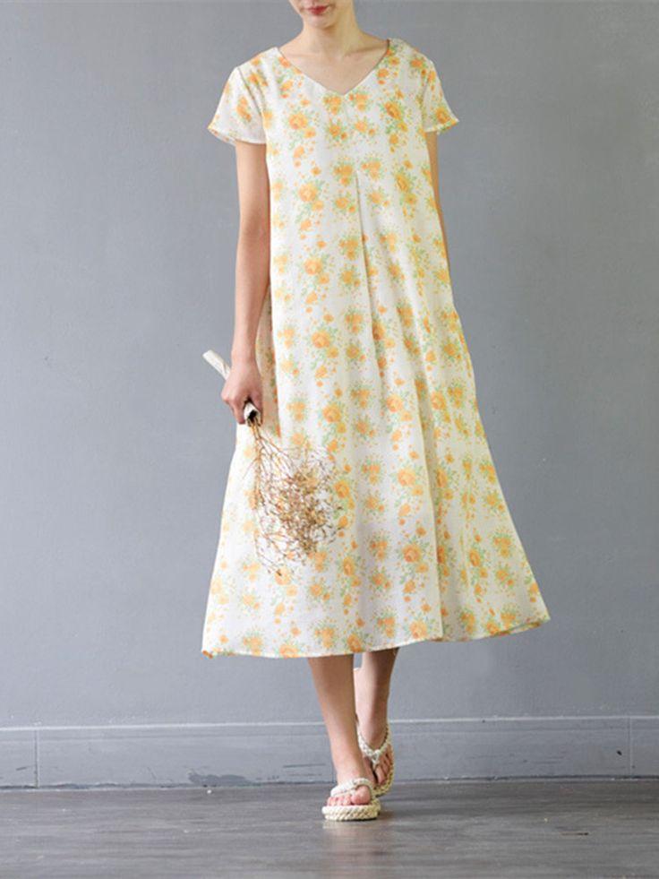 Vestiti floreali vintage a maniche corte in pizzo a maniche corte V-Neck