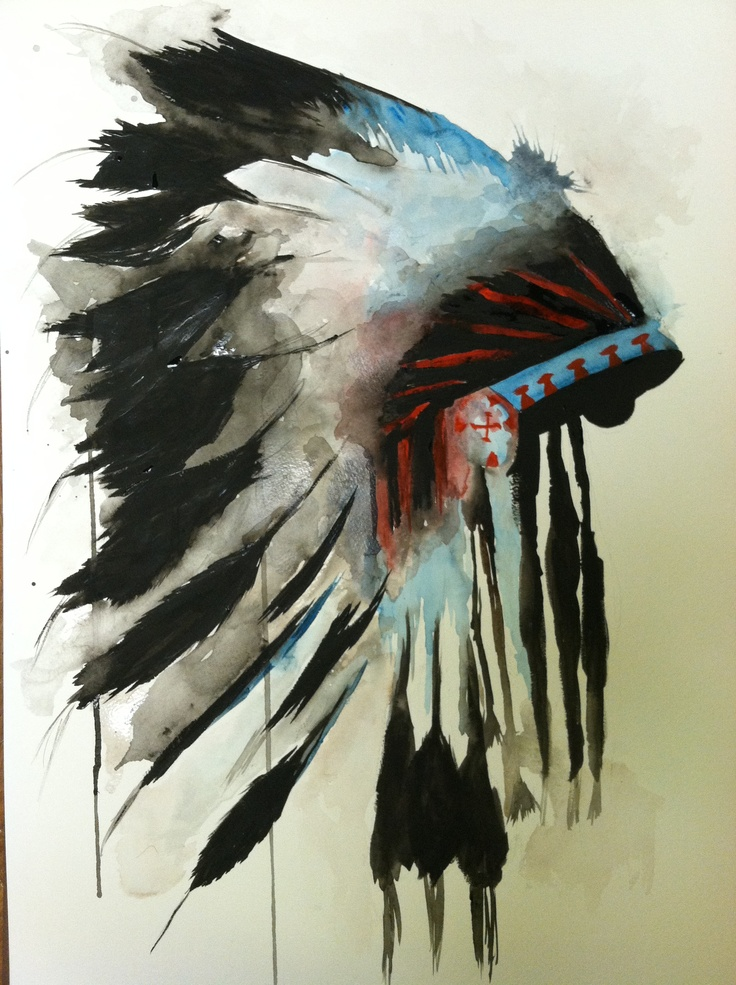 Watercolor. Indian chief headdress. First sold painting. $50. SOLD.