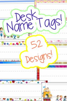 """Desk Name Tags Package of 52 designs with """"Intelligent"""" back.Students love their desk name tags. They also can really brighten up the room with fun and refreshing colors and designs. This 52 tag package gives you plenty of great options to change your students name tags as often you like.Or (and this would be a lot of fun) let your students pick their favorite design that fits their personality and individual style!"""