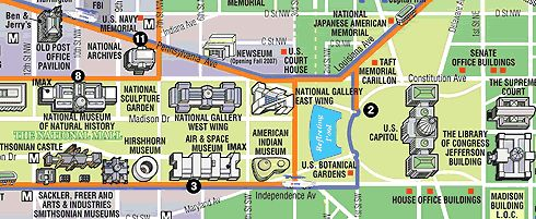 free printable washington dc map showing US Capitol and Museums, attractions