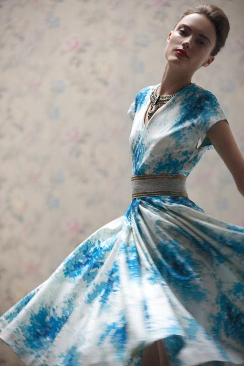 blue & white dress: Summer Dresses, Full Skirts, Fashion, Anthropology, Style, The Dresses, Floral Dresses, Belts