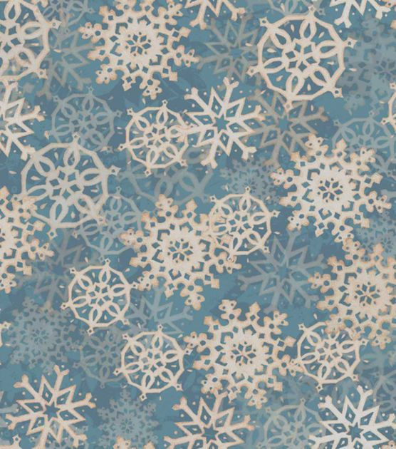 Holiday Inspirations Fabric-Susan Winget Layered Flakes Blue  Holiday Fabric at Joann.com
