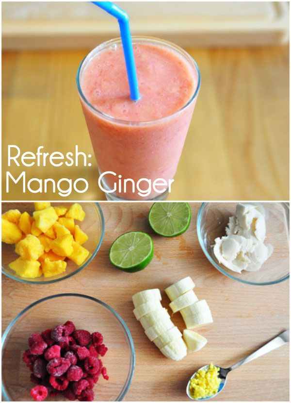 Mango Ginger — 2 cups frozen Mango, 1 cup frozen raspberries, 1 banana, ¼ cup chopped ginger, squeeze of lime, yogurt. Green Smoothie — 1 cup baby spinach, 1 cup kale, 1 pear, 1 ½ cup of orange juice, and 1 frozen banana. more..