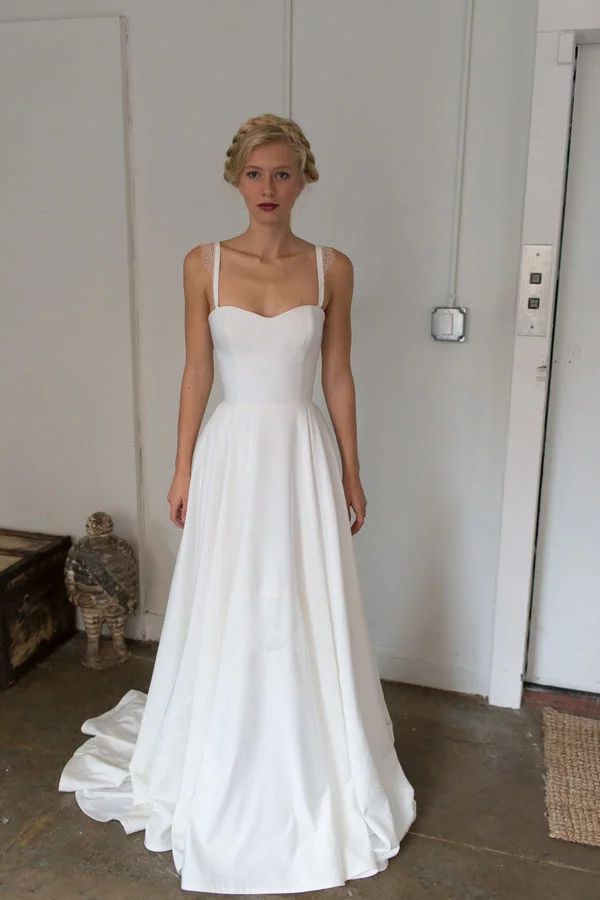 Sweetheart neckline wedding dress with thin lace straps from Tara LaTour fall bridal collection