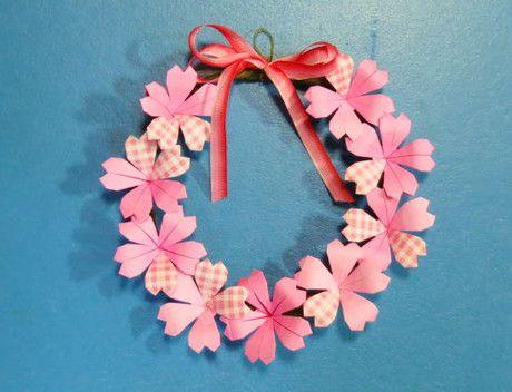 桜のリース : 【折り紙】リースの作り方&アレンジ例 【インテリア】 - NAVER まとめ