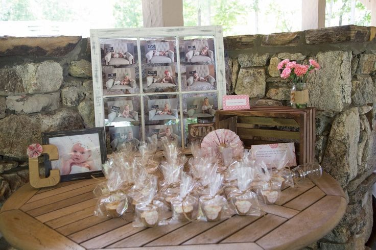 First Birthday Party Favor Table burlap shabby chic pink rustic