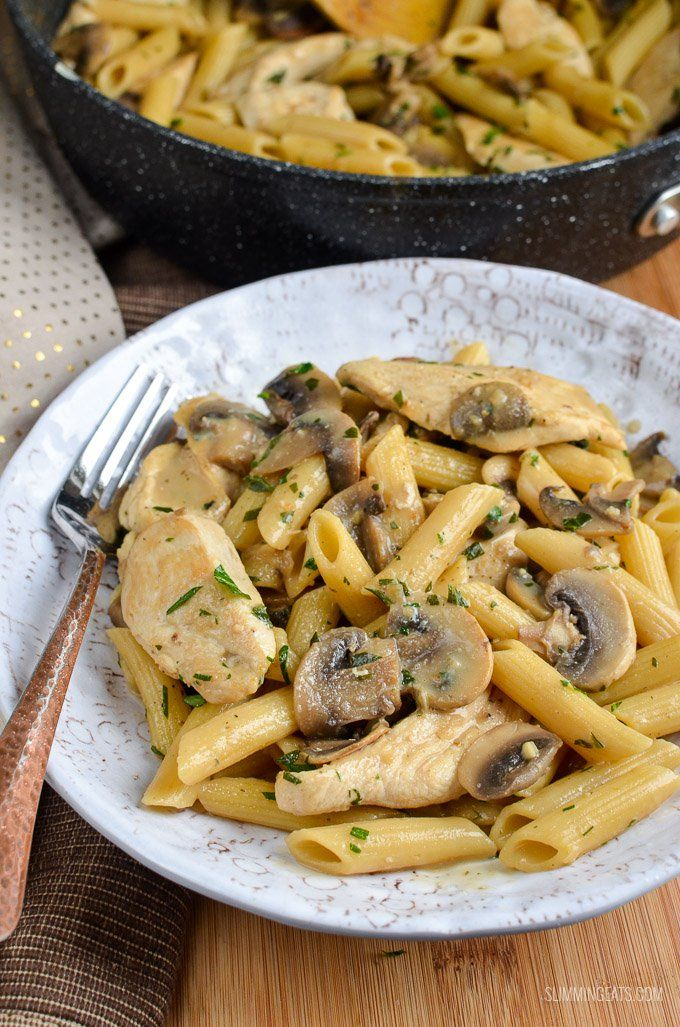 Slimming Eats Syn Free Creamy Chicken and Mushroom Pasta - gluten free, Slimming World and Weight Watchers friendly