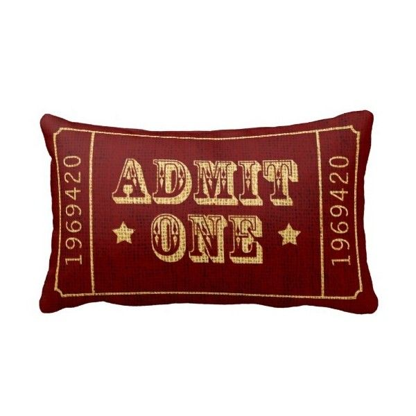 Whimsical Circus Theatre Ticket Admit One Pillow found on Polyvore featuring home, home decor, throw pillows and whimsical home decor