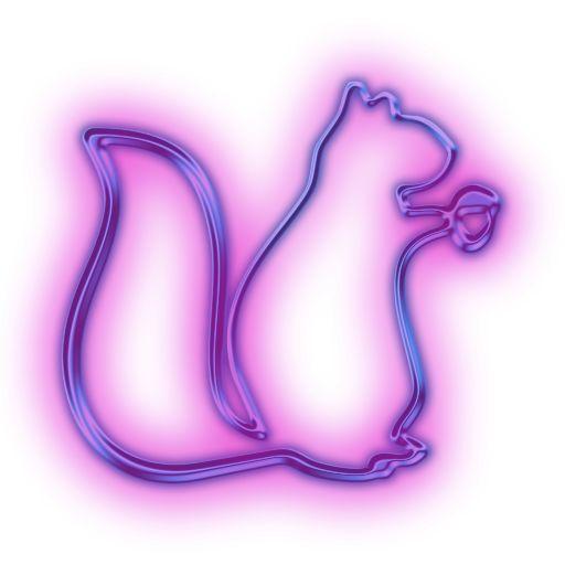 Decor: Neon squirrel lights