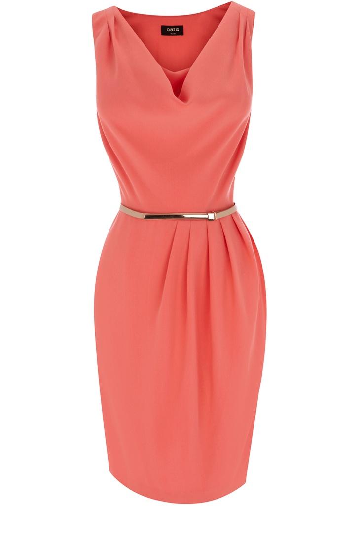 Oasis Clothing   Coral Orange Cowl Drape Dress   Womens Fashion Clothing   Oasis Stores UK