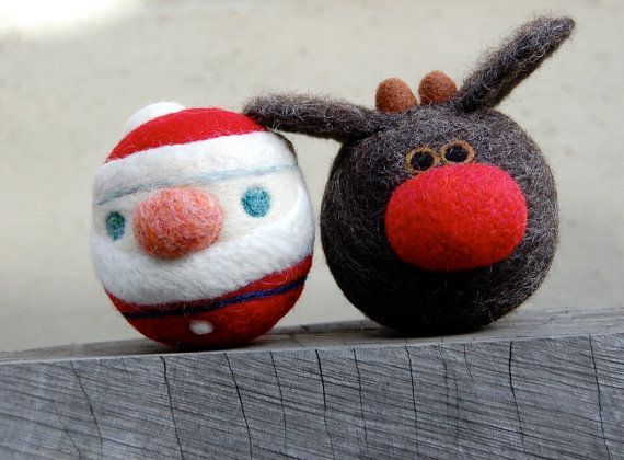Rudolph The Reindeer and Santa WOOLY Rattle Balls via Etsy.