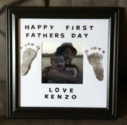 My #craft for hubby's first father's day... a bit off centered, whoops!! Anyway, a simple project - all you need is a (non-toxic) ink pad, some patients, and some itty bitty baby feet (or hands)! Click to see my blog post with some other great craft ideas for baby's feet! #fathersday