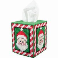 Herrschners® Peppermint Santa Tissue Box Plastic Canvas Kit