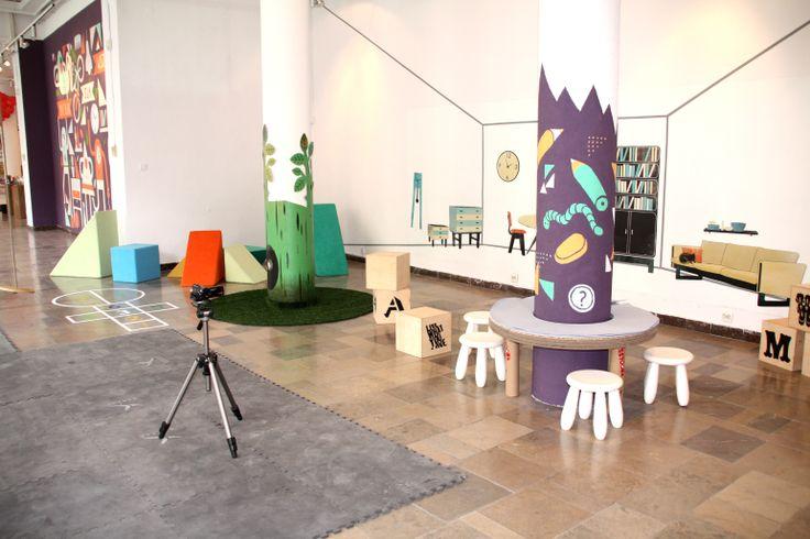 "Scenography of the exhibition ""Design for kids"" Dizajn Gallery.  Cooperation Maja Łukaszewicz Wolff.  Visual identification: Group Projektor, Wojciech Otecki"