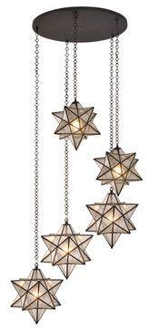 "Meyda Lighting 99178 45""W Moravian Star 5-Light Shower Flush Mount - traditional - Ceiling Lighting - Lighting Front"