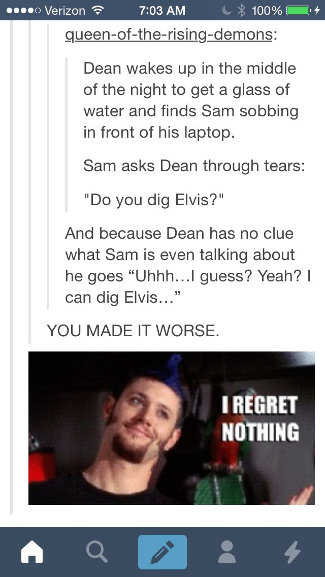What if Dean crossed over into that alternate universe (like he and Sam did in The French Mistake), only to find Cas was dead? He'd blame himself, for leaving Cas behind, which is something he'd never do.