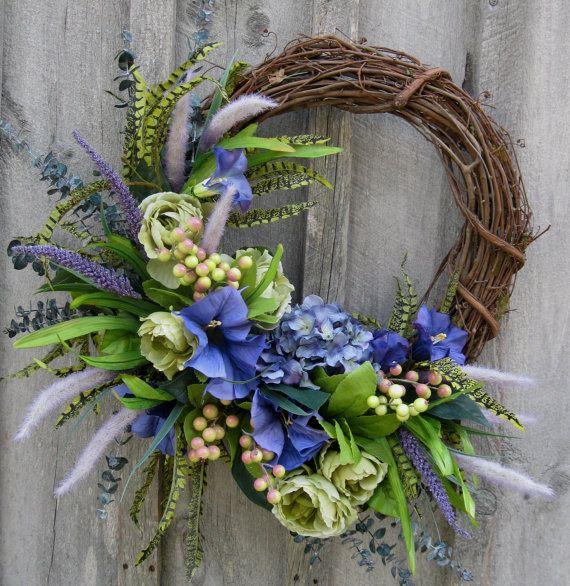 Spring Wreath, Floral Wreath, Designer Wreath, Elegant Garden Decor, Easter, Wedding, Hydrangea Wreath