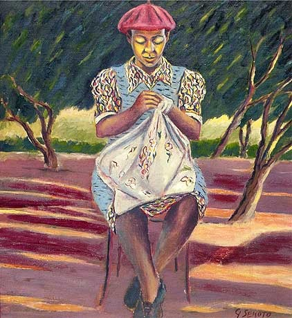 """SEKOTO, GERARD (SA 1913 - 1993) Oil on canvas on board, """"Seated Woman doing Needlework, a row of trees behind - Eastwood Township, Pretoria"""" Circa 1946-47, signed (44 x 38.5cm). SOLD for R1 100 000 - August 2007 - A new SA record for the artist."""