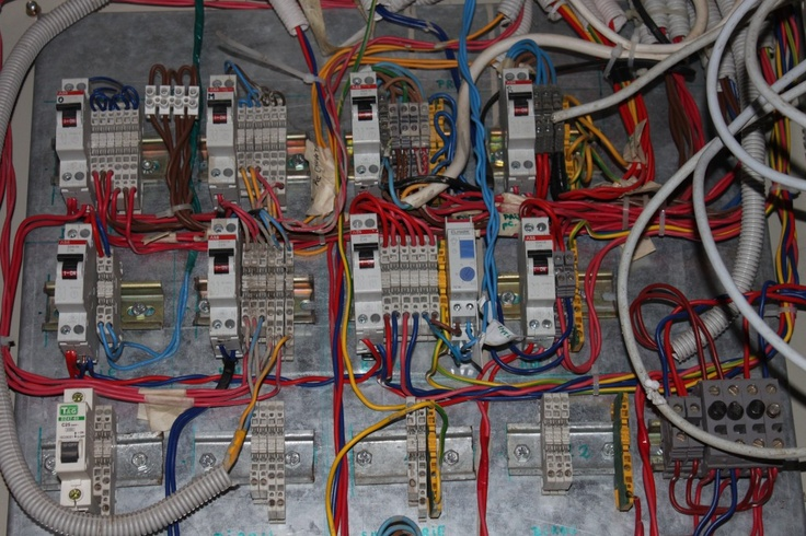 Image Electrical Panel with Automatic Fuses, DIN Rail