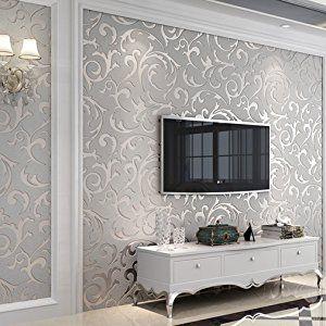 HOT - Stile semplice non tessuto carta da parati damascata,Camera da letto soggiorno TV sfondo 10m / color: argento nobile