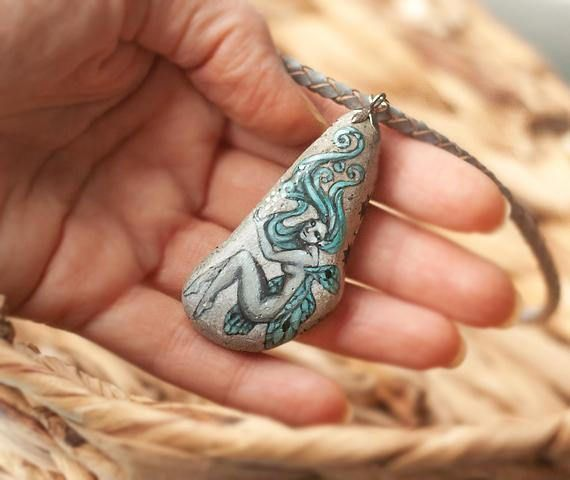 Delicate stone necklace with hand-painted fairyelvish