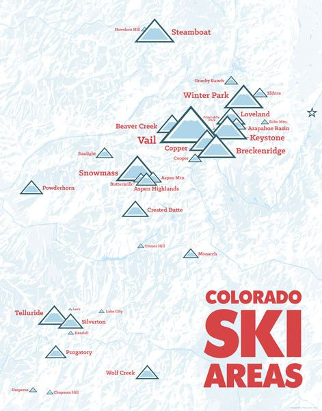 This heavyweight print is a comprehensive map of lift-served skiing in Colorado- including everything from big resorts to municipal ski hills. This stylized, shaded relief map depicts major rivers and