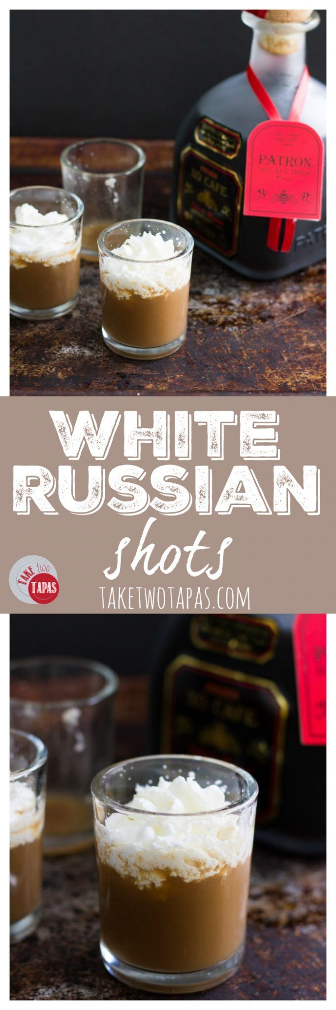Try these White Russian Shots with a twist. The usual vodka, but a coffee liqueur laced with Tequila! And not just any tequila. Patron tequila...