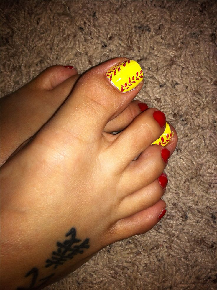 Rockhold Nails DIY softball nail design big toe white base with coat of yellow then red stitching, red paint for the rest.   Done at the Rockhold House