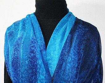 Silk Scarf Hand Painted Silk Shawl Blue by SilkScarvesColorado