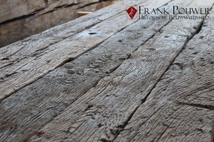Geborstelde oud eiken wagonplanken / oude planken. Frank Pouwer. Droomtafel. 3,5meter lang.