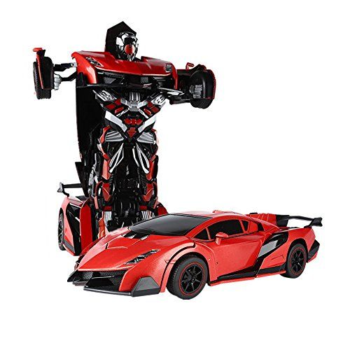 SainSmart Jr. RC Transformation Robot Car Action Deformation Figure Shape-shift Model Car One-Touch Transforming Red [BALCK FRIDAY DEALS]
