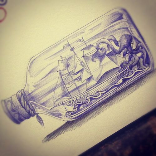 ship in a bottle tattoo - Google Search