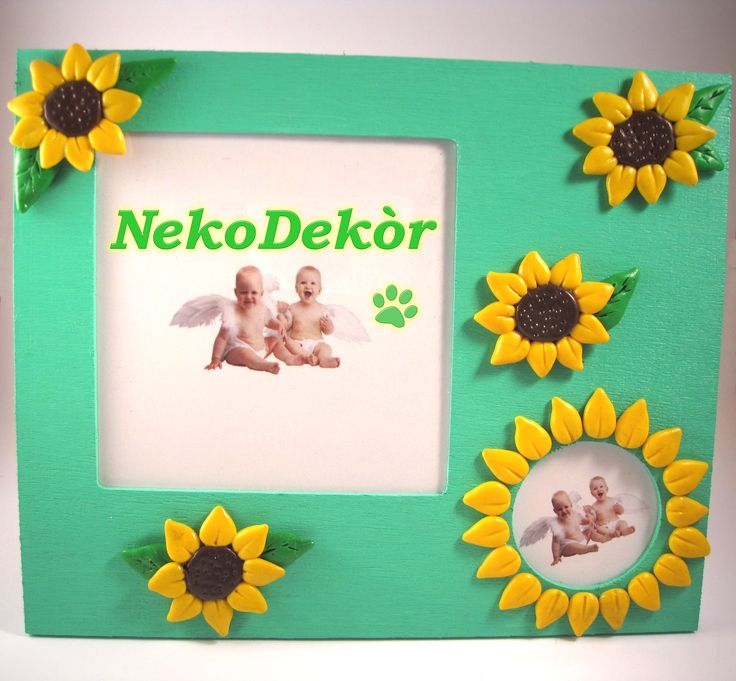 Size: Width 17,8 cm / Height 15 cm  Wodden frame with handmade fimo sunflowers.