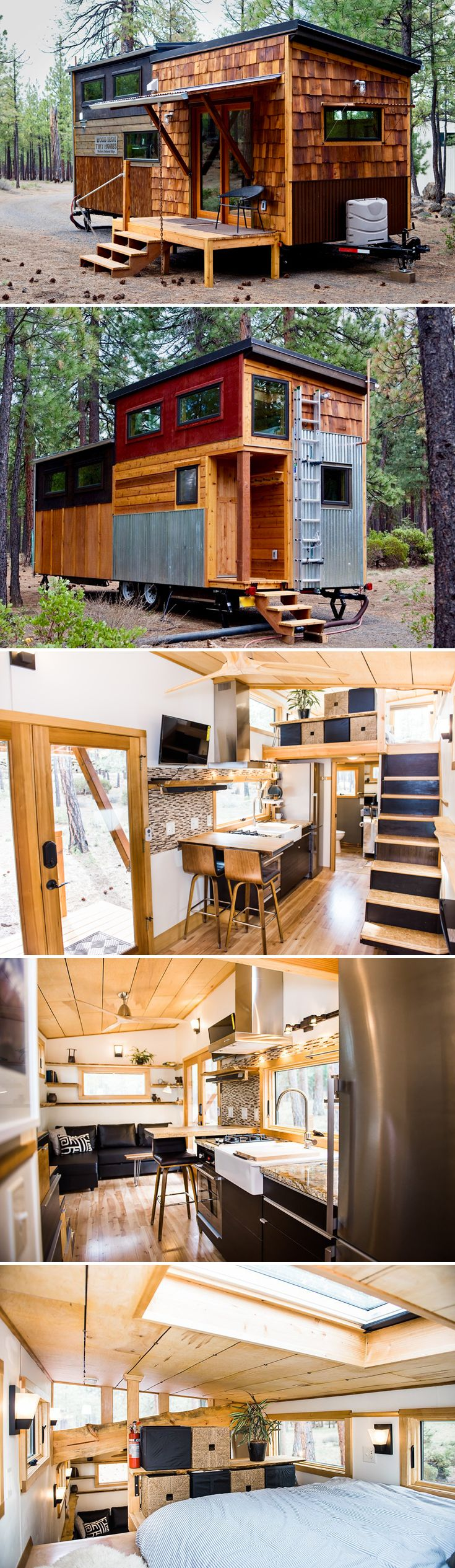 North Sister is the debut tiny house from family owned and operated Wood Iron Tiny Homes, based in Sisters, Oregon.  The tiny house does a wonderful job showcasing the family's superb craftsmanship and three decades of construction experience.