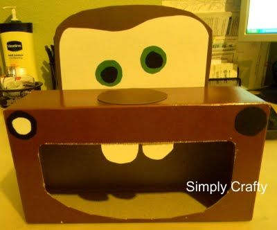 Storage Solutions & Crafts from Tissue Boxes This Mater was designed for a child's birthday party — tuck napkins or forks in it to fit the theme. You can also use it to store Cars toys. It's just too cute! and more tissue box projects