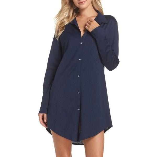 Women's Hanro 'Deluxe Boyfriend' Jersey Sleep Shirt ($185) ❤ liked on Polyvore featuring intimates, sleepwear, nightgowns, deep midnight, hanro sleepwear, hanro nightgowns, night shirt, hanro and sleep shirts